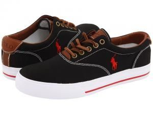 Tenis Polo Ralph Lauren Vaughn Canvas/Leather Preto e Vermelho